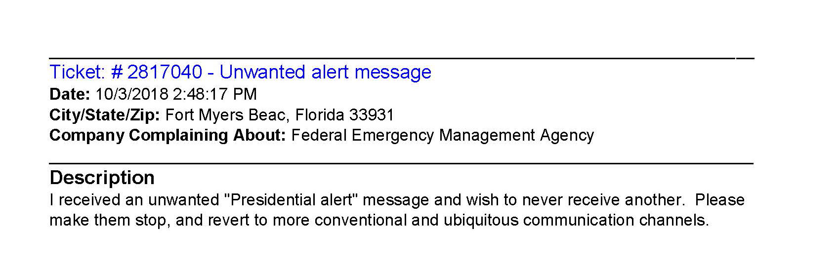 Complaints After the Presidential Emergency Alert: Hatch Act