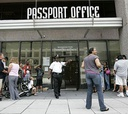 People line up outside the U.S. Passport Office in Washington.