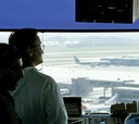 An  air traffic  controller works at the Dulles International Airport.