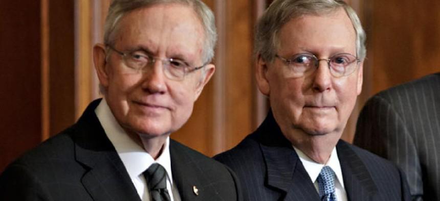 Senate Majority Leader Harry Reid, D-Nev., left, and Senate Minority Leader Mitch McConnell, R-Ky.,