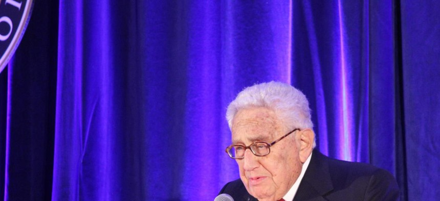 Former secretary of state Henry Kissinger praises President Richard Nixon's role as a peacemaker at the Richard Nixon Foundation's Centennial Birthday Gala on Wednesday at the Mayflower Renaissance Hotel in Washington. SHFWire photo by Ian Kullgren