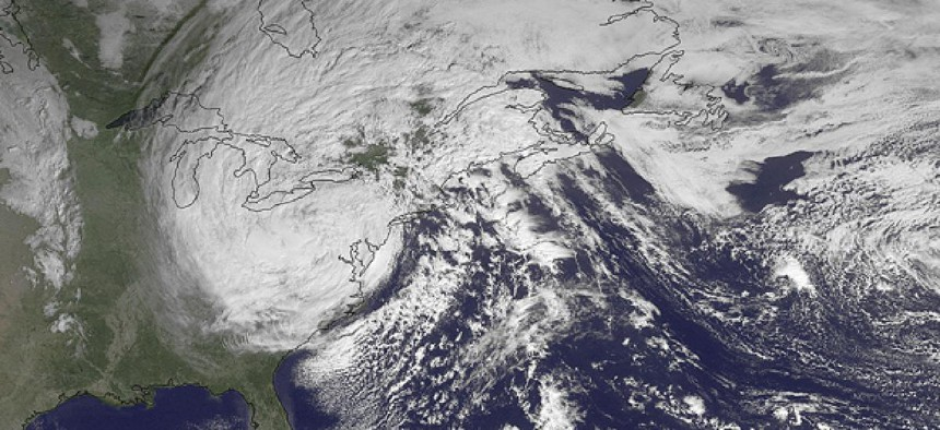 This NOAA satellite image taken Tuesday, Oct. 30, 2012, shows superstorm Sandy slowly moving westward.