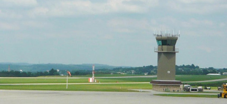 The air traffic tower at Latrobe, Pennsylvania's Arnold Palmer Regional Airport is slated to close due to the cuts.