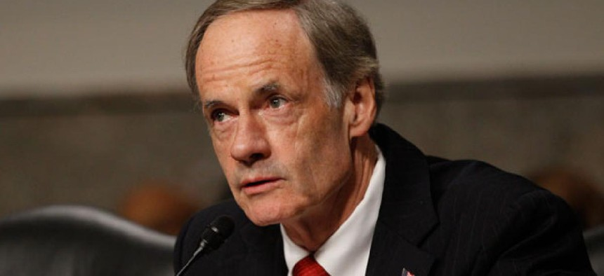 """The absence of timely budgets creates """"an uncertainty tax,"""" Sen. Thomas Carper, D-Del., said."""