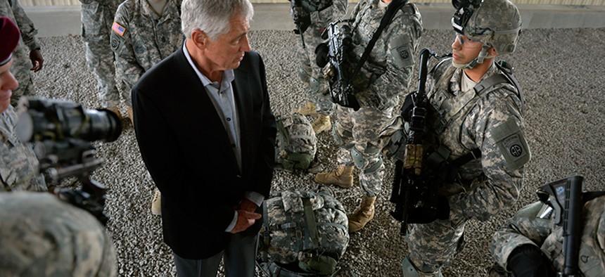 Defense Secretary Chuck Hagel talks to troops at Fort Bragg, N.C.