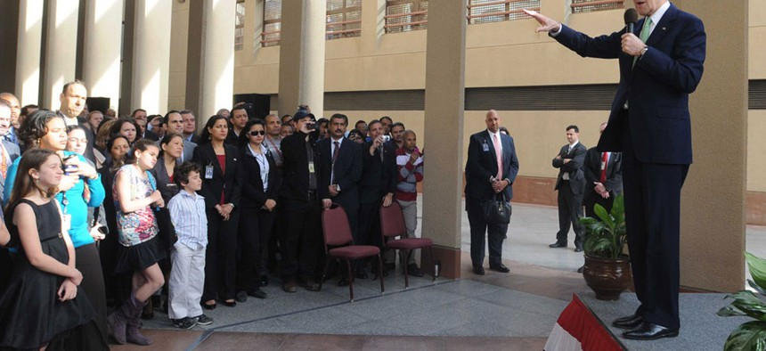 Secretary of State John Kerry spoke to U.S. Embassy in Cairo staff and their families in March.