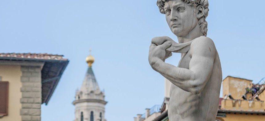 Michelangelo -- sculptor of the famed David -- is cited a creative genius left-hander.