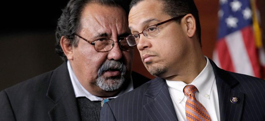 Rep. Keith Ellison, D-Minn., right, and Rep. Raul Grijalva, D-Ariz., left, are co-chairs of the Congressional Progressive Caucus.