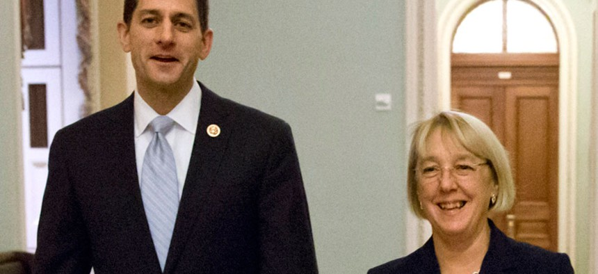 """""""One of the most difficult challenges we faced as we worked through this, was the issue of federal employees and military,"""" said Sen. Patty Murray, D-Wash., during a press conference with Rep. Paul Ryan, R-Wis."""