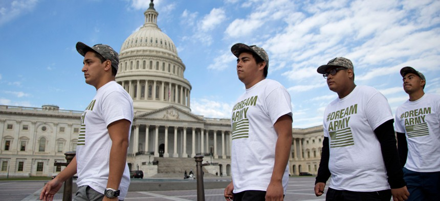 Protestors called for reform of the immigration system march on Capitol Hill in October.