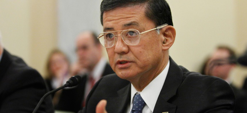 Last month, Veterans Affairs Secretary Eric Shinseki  testified before the Senate Veterans' Affairs Committee. He has since resigned his position.