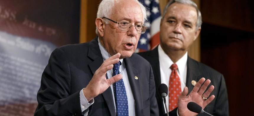 Sen. Bernie Sanders, I-Vt. (left), and Rep. Jeff Miller, R-Fla., unveiled the compromise Monday.
