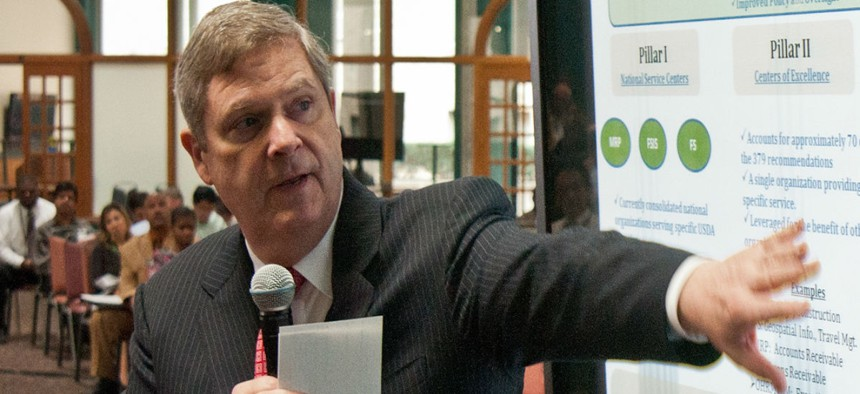 Agriculture Secretary Tom Vilsack speaks about the Blueprint for Stronger Service Initiative in 2012.