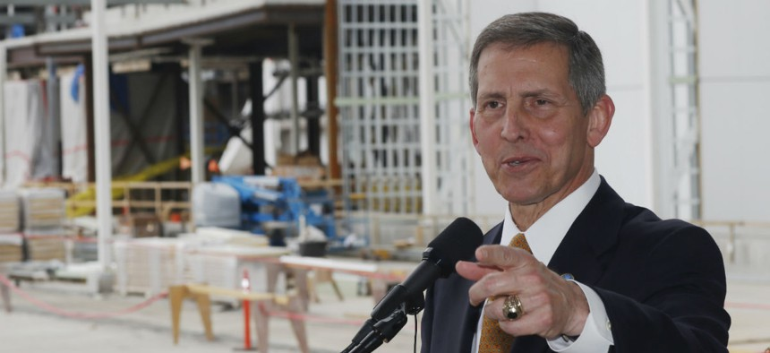 VA Deputy Secretary Sloan Gibson speaks at a press conference near construction of the VA hospital in Aurora, Colo.