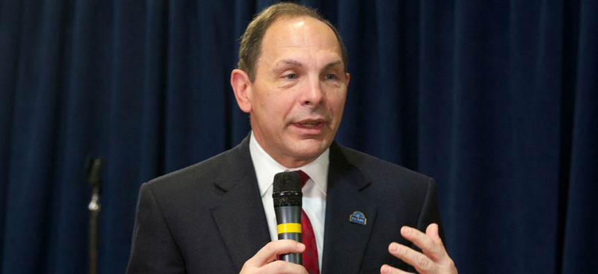 VA Secretary Bob McDonald speaks at a town hall meeting with employees last winter. The union allegedly created a list of executives it wanted McDonald to fire.