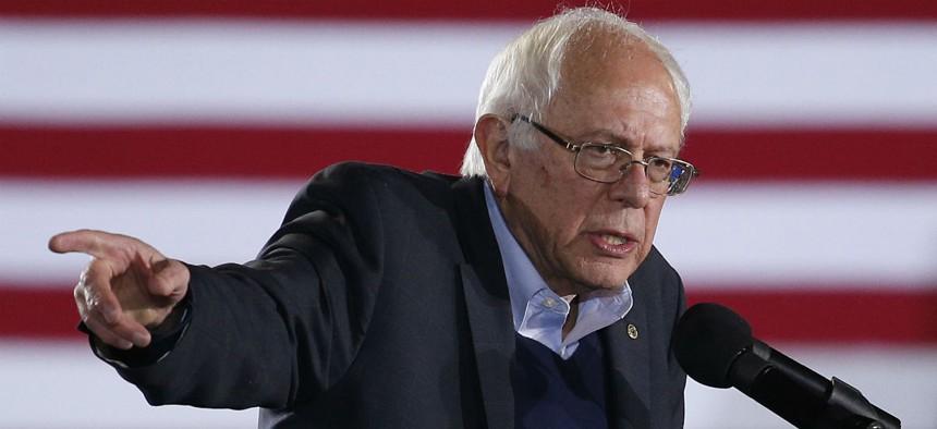 Democratic presidential candidate Sen. Bernie Sanders speaks at a rally in North Las Vegas.