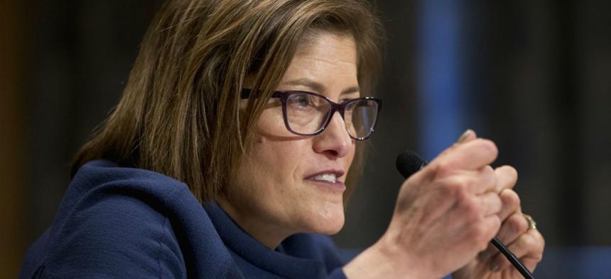 Beth Cobert testifies at her confirmation hearing on Feb. 4.