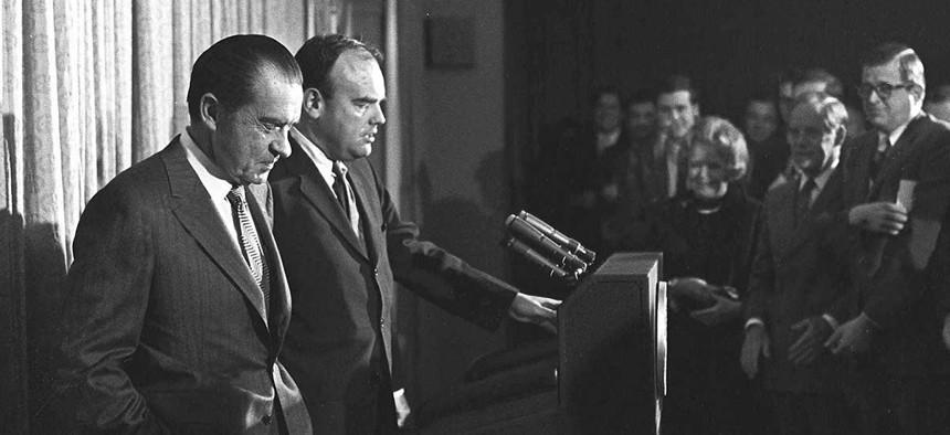 Richard Nixon, left, stands next to John D. Ehrlichman in 1971.