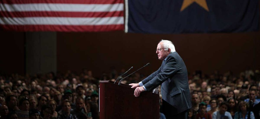 Sanders addresses supporters in Arizona in July.