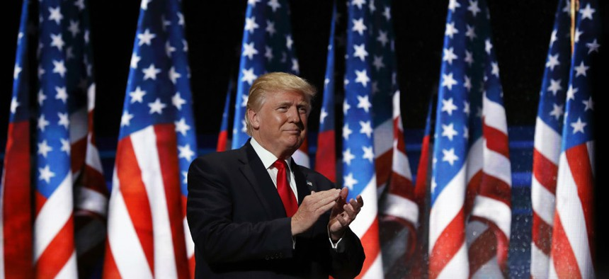 Republican Presidential Candidate Donald Trump walks to the podium for his speech at the Republican National Convention on Thursday in Cleveland.