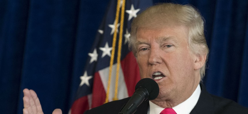 Republican presidential nominee Donald Trump speaks at a news conference in Tampa, Fla., on Wednesday.