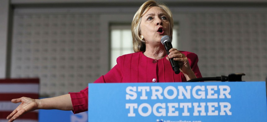 Democratic presidential candidate Hillary Clinton speaks at a speaks at a Pennsylvania Democratic Party voter registration event in Philadelphia Tuesday.