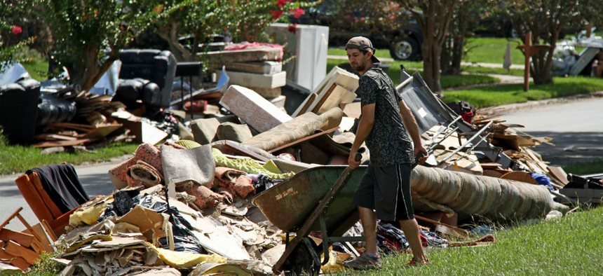 Cleaning up after the August 2016 flood in Baton Rouge, Louisiana.