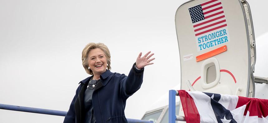 Clinton arrives at Pueblo Memorial Airport in Colorado Wednesday.