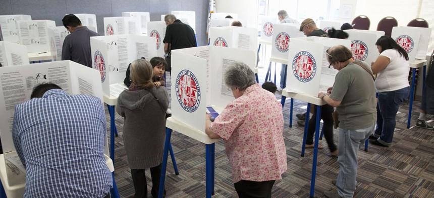 Residents in California vote in 2012.