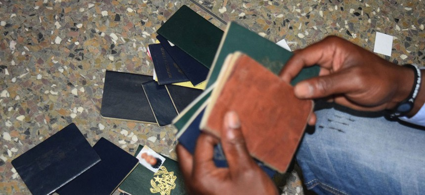Fake passports confiscated during a raid on a fake US embassy in Accra, Ghana.