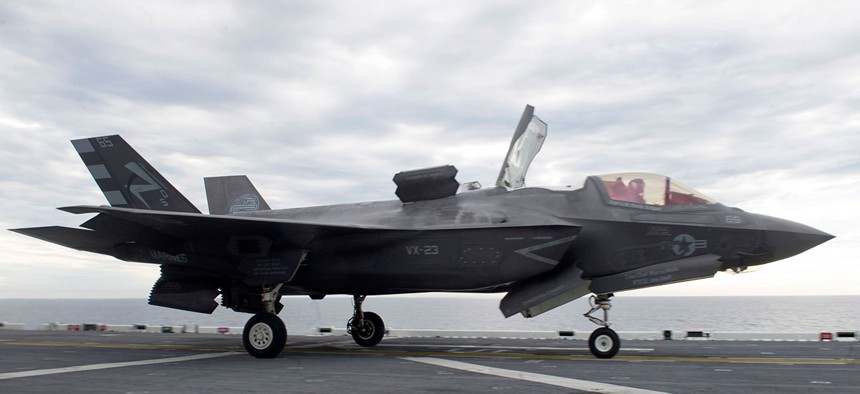 An F-35B Lightning II aircraft launches for the first time off the flight deck of the amphibious assault ship USS America  in November.