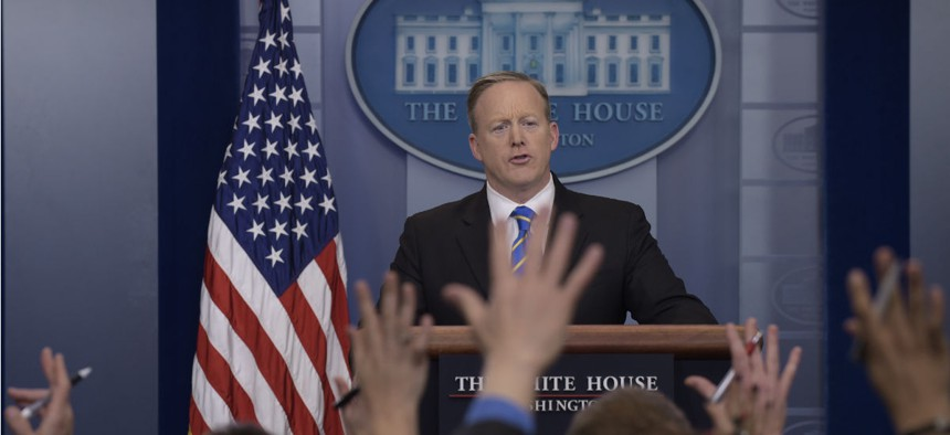 White House press secretary Sean Spicer speaks during the daily briefing at the White House on Tuesday.