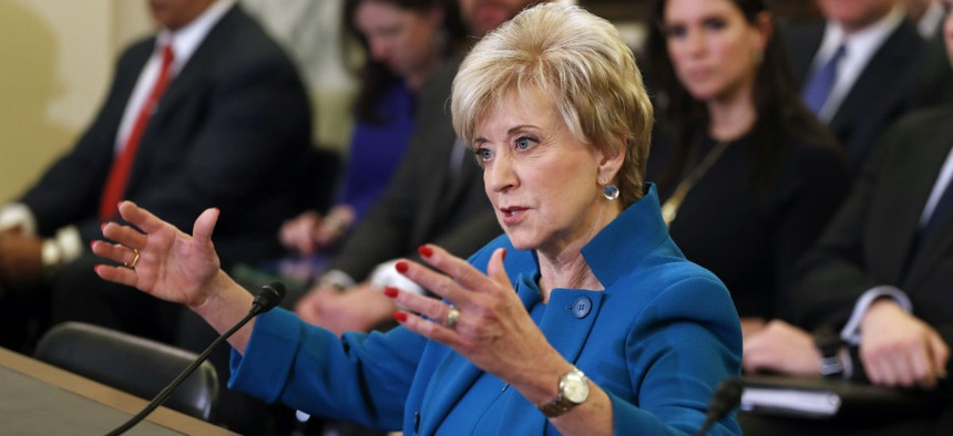 Small Business Administration Administrator-designate, former wrestling entertainment executive, Linda McMahon testifies on Capitol Hill on Tuesday.