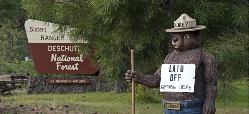 Smokey The Bear outside the U.S. Forest Service office in Sisters, Oregon, during the 2013 government shutdown.