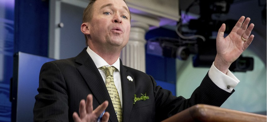 Budget Director Mick Mulvaney speaks about the Trump Administration's budget proposal March 16.