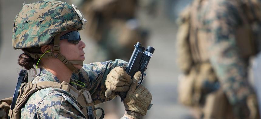 Women training as a U.S. Marine Corps Female Engagement Team train in 2016.
