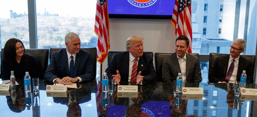 President-elect Donald Trump speaks during a meeting with technology industry leaders at Trump Tower in December.
