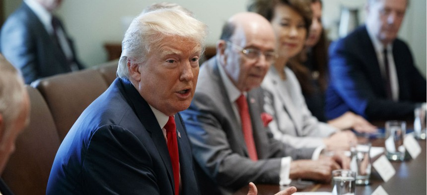 President Donald Trump speaks during a cabinet meeting in the Cabinet Room of the White House on July 31.