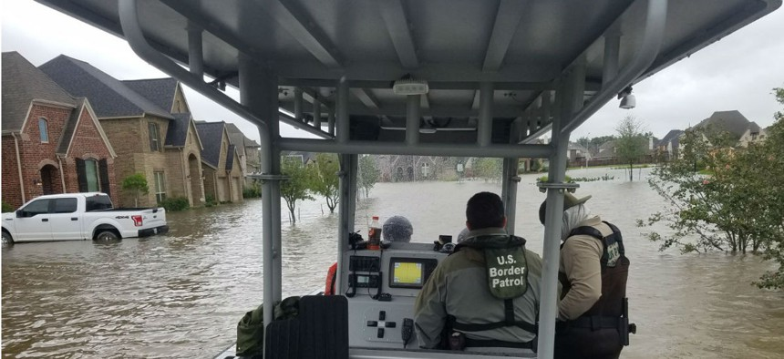 U.S. Border Patrol Riverine agents assist in rescue and recovery efforts in the greater Houston area in the aftermath of Hurricane Harvey.