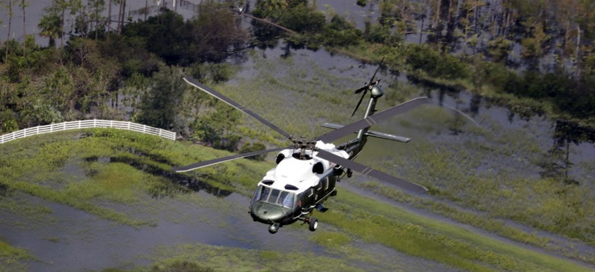Marine One flies over areas affected by Hurricane Irma.