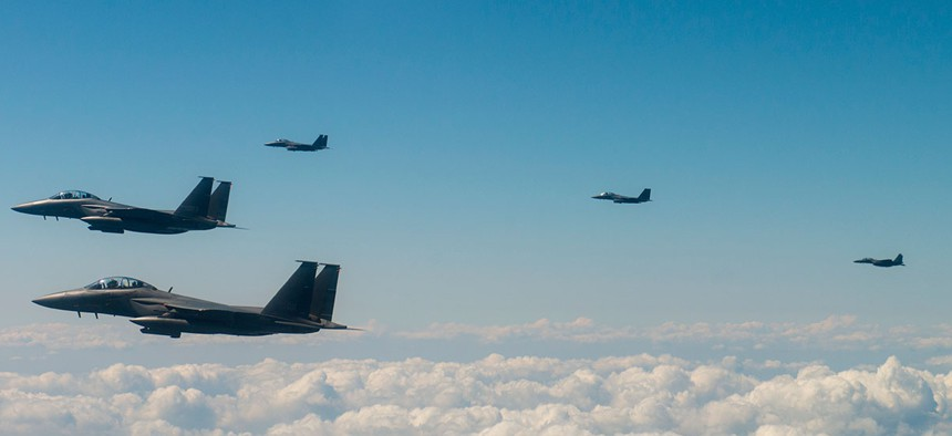 Aircraft from the U.S. Air Force, U. S. Marine Corps, Japan Air Defense Force and Republic of Korea Air Force conduct a show of force flight south of the Demilitarization Zone in South Korea on Aug. 31.