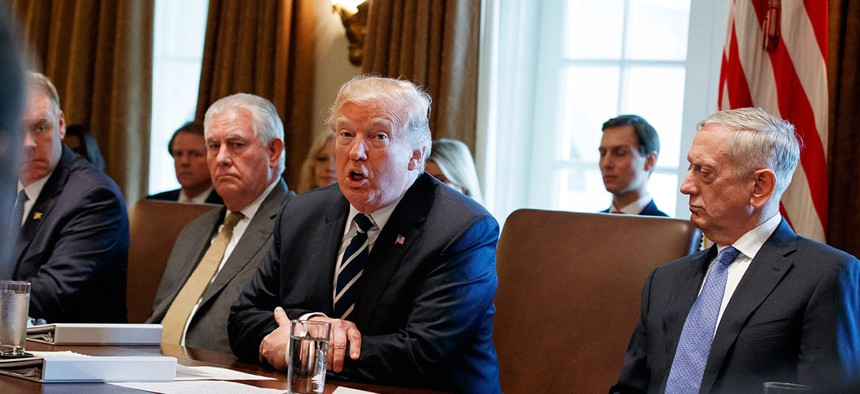 President Trump speaks at a Cabinet meeting Monday.