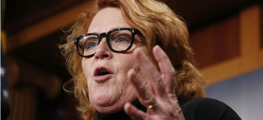 """Sen. Heidi Heitkamp, D-N.D., said: """"We're already seeing disinterest in federal service . . . It's pennywise and pound foolish, if we're constantly spending money on recruiting and training for new employees."""""""