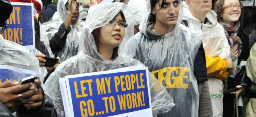 Union members protest during the 2013 government shutdown.