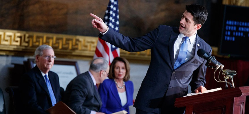 Paul Ryan speaks in front of Mitch McConnell, Chuck Schumer, and Nancy Pelosi on Capitol Hill on January 17.