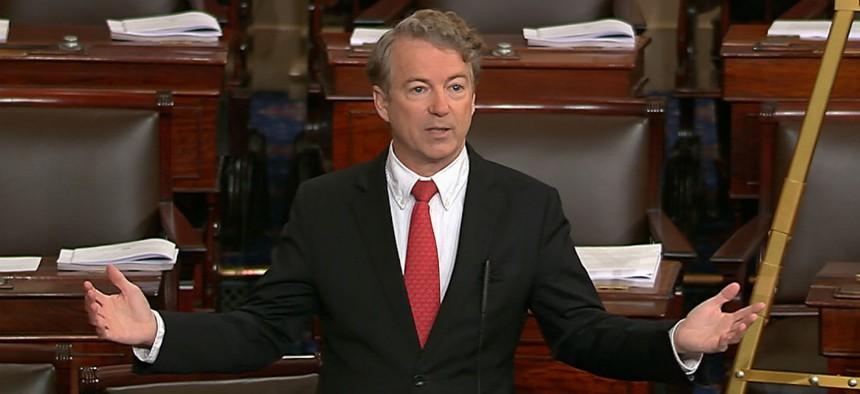 Sen. Rand Paul, R-Ky., held up passage of a spending agreement.