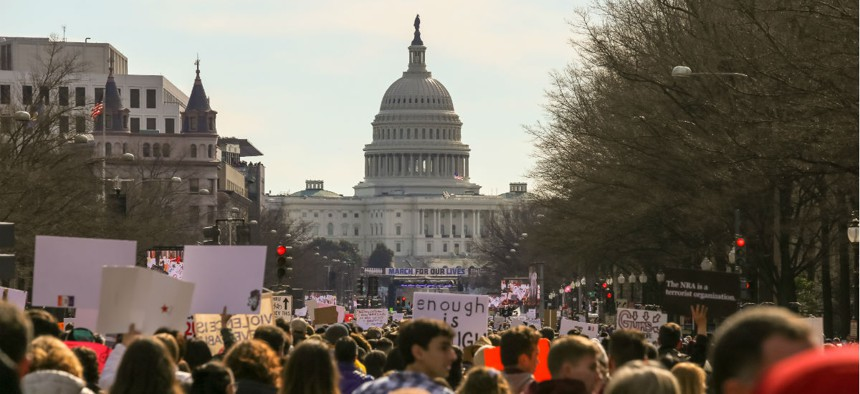 Thousands of students and supporters gather along Pennsylvania Avenue in Washington in the March for Our Lives rally against school gun violence.