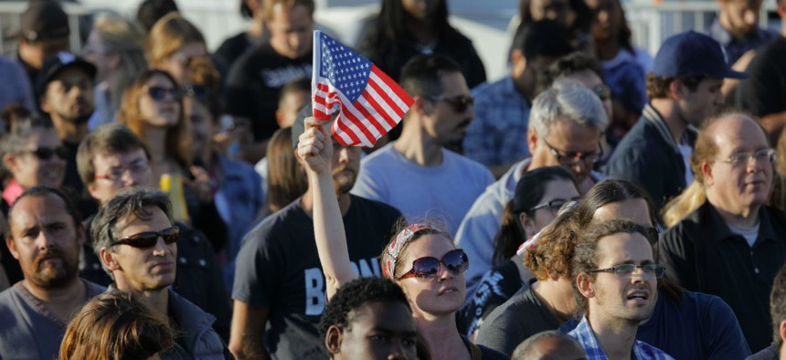 Supporters rally for 2016 presidential candidate Bernie Sanders in Santa Monica, California.