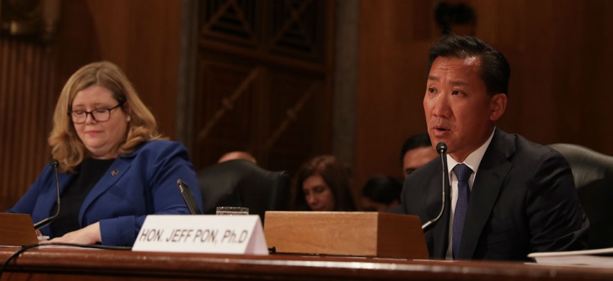 GSA leader Emily Murphy and OPM chief Jeff Pon testify before a Senate Homeland Security and Governmental Affairs subcommittee Thursday.
