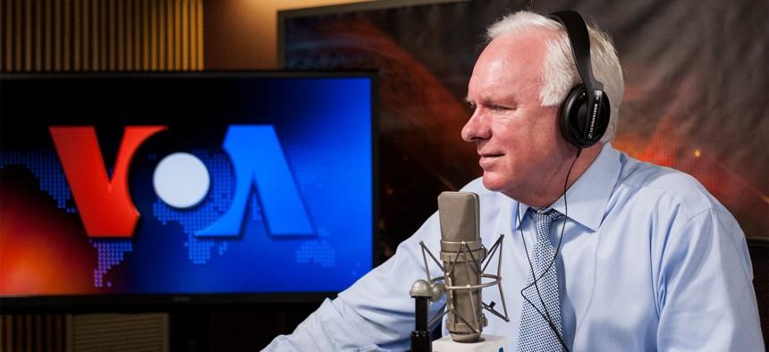 "Director John Lansing speaks to NPR ""Morning Edition"" from the VOA studios."